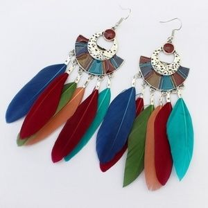 🆕Bohemian Multicolored Feathered Silver Earrings